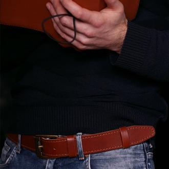 Кожаный мужской ремень. Подарок на день отца