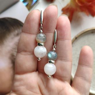Серебряные сережки с натуральным лунным камнем и лабрадором