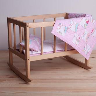 Розовая постель для кукол Подарок для девочки на день рождения Кукольная постель