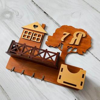 Ключница Деревце с балконом и ящиком.