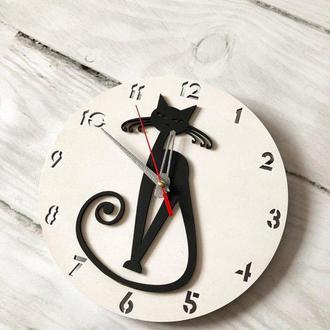 """Интерьерные часы настенные """" Черная кошка """""""