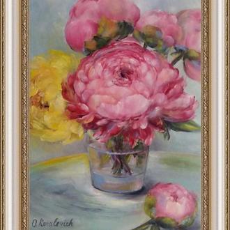 Картина маслом живопись Букет пионов 24×30см.