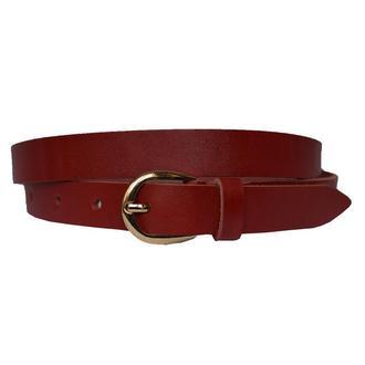 Classic20с2 женский кожаный красный узкий ремень кожанный пояс натуральная кожа