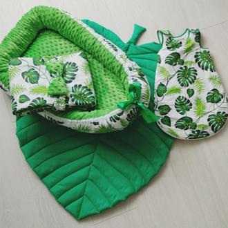 Детское одеяло-конверт, гнездышко, спальный мешочек и коврик-листик Tropical