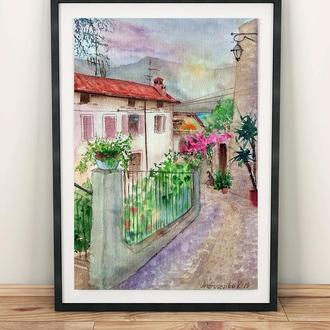 Картина акварелью, городской пейзаж