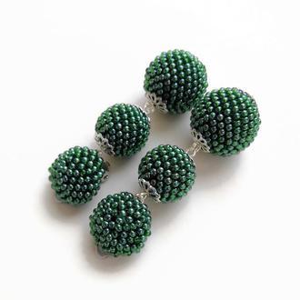 Зеленые серьги-клипсы из бисера Бон Бон