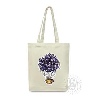 хлопковая эко сумка с  дизайном. белая
