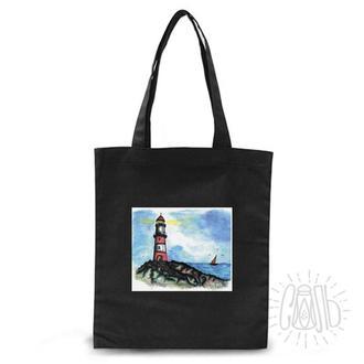 хлопковая эко сумка с дизайном. черная