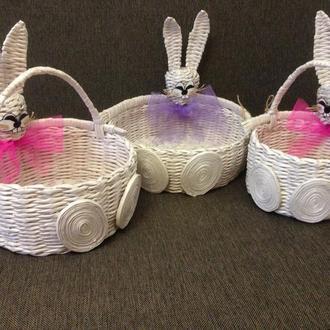 Пасхальные корзинки для детей в виде зайчиков