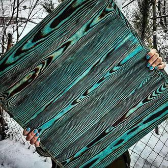 Деревянный фотофон Голубой прозрачный с темной фактурой
