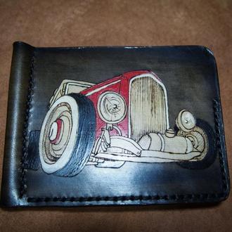 Кожаный зажим для денег хот род,  зажим для купюр, мужской бумажник