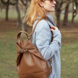 Коричневый кожаный рюкзак трансформер