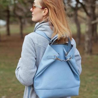 Голубой кожаный женский рюкзак/сумка
