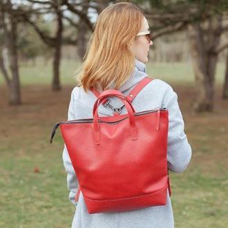 Красный кожаный женский рюкзак трансформер