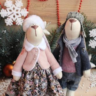 """Пара зайчиков """"Влюбленные в зиму"""""""