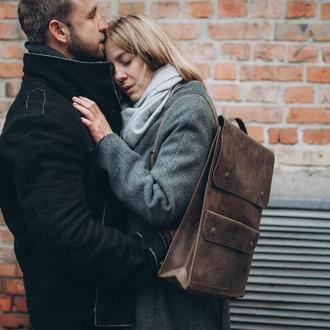 Кожаный рюкзак, рюкзак унисекс, городской рюкзак, для парня, для девушки
