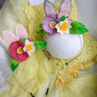 Обруч с цветами и ушками зайчика для девочки