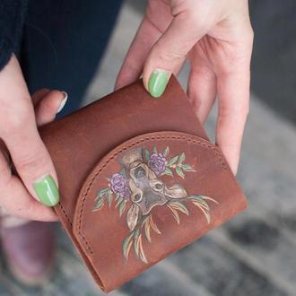 Кожаный маленький кошелек портмоне с росписью и персонализацией