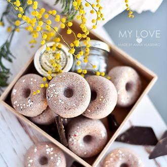 Бомбочка/ гейзер для ванной Пончик Горячий шоколад