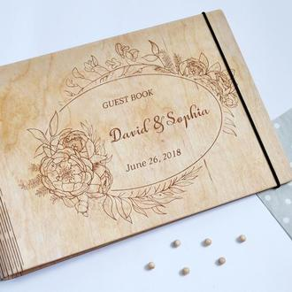 """Свадебный фотоальбом / Свадебная гостевая книга """"Рeonies Bloom"""""""