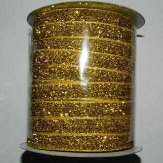 10 Бархатная люрексовая лента (1см.) моток 46м., золото