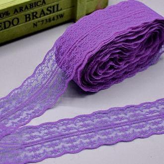 """(10 метров) Кружево """"Аллюр"""" ширина 4,7см (цена за 10 метров) Цвет - Фиолетовый"""