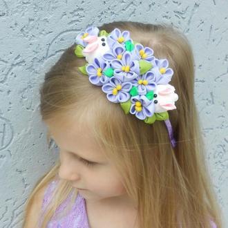 Сиреневый обруч для волос Украшение на голову Ободок с цветами канзаши Подарок девочке на Пасху