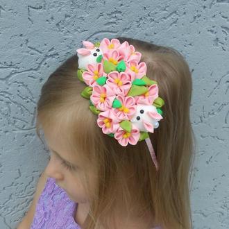 Розовый обруч с цветами на Пасху Украшение для волос девочке Ободок канзаши Подарок на день рождение