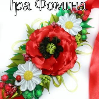 Украшение на пасхальную корзину в украинском стиле Декор на Пасху с маками и ромашками Подарок
