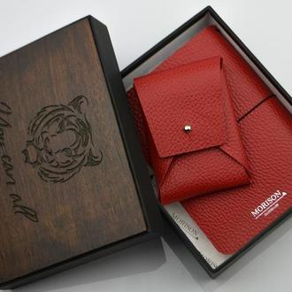 Кожаный женский набор Именной женский набор Кожаный блокнот А6 Дорожный блокнот со сменным блоком
