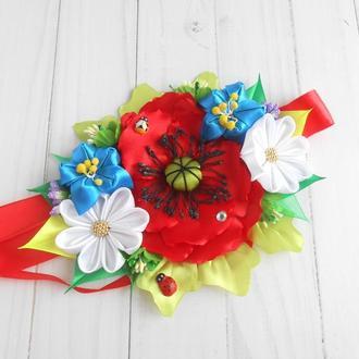 Украшение для пасхальной корзины с маками и ромашками Декор на Пасху с украинскими цветами Подарок