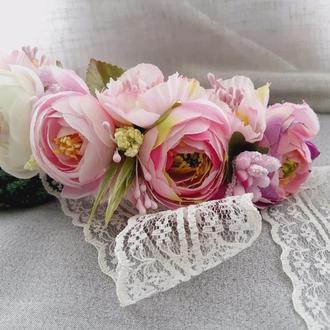 """Ободок /венок на голову из искусственных цветов """"Нежное кружевце"""" №2 Розовый"""