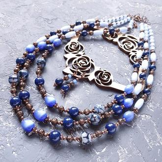 """Весняна колекція прикрас """"Проліски"""" намисто і сережки бусы из натуральных каменй и кристаллов"""