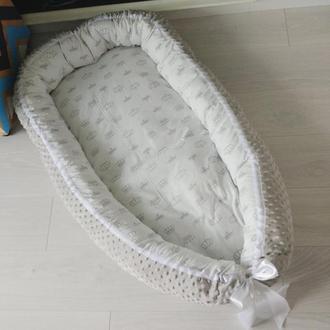 Кокон для ребенка (гнездышко, бебинест) Grey Crowns