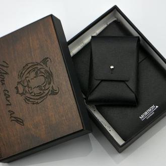 Кожаный мужской набор, Кожаный именной блокнот, Блокнот А6, Подарок мужчине, подарок начальнику