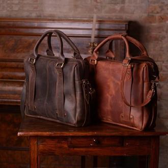 Кожаная мужская сумка для ноутбука на плечо, Сумка мессенджер