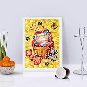 Мозаика Картина из мозаики Декор для интерьера Домашний декор Картина для кухни Картина еда дессерт