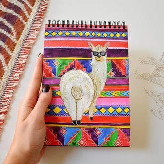 """Скетчбук черные страницы+белая ручка. иллюстрация """"Лама"""""""