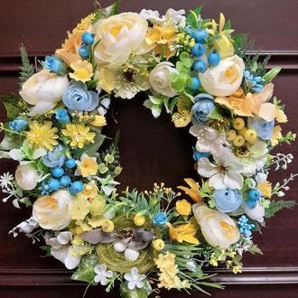 Пасхальный весенний летний венок на дверь стену стол подарок декор пасхальный венок