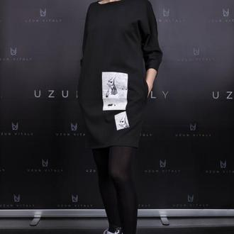 Черное платье с принтом от Леси Вербы