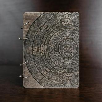 """Блокнот в деревянной обложке """"Календарь Майя"""""""