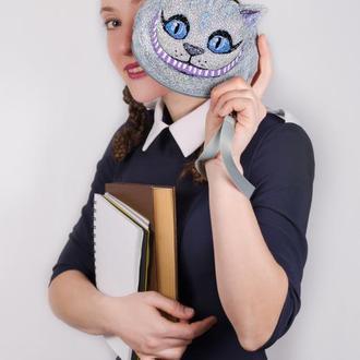 Вышитый кошелёк Чеширский кот. Серый кошелёк на молнии. Подарок школьнице. Подарок девочке. Вышивка
