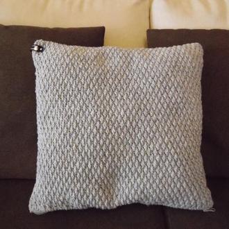 Вязаная подушка декоративная, диванная подушка для интерьера, хендмейд