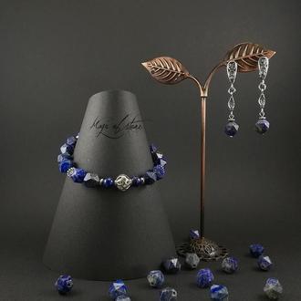 Комплект украшений из лазурита и серебра 925 пр.