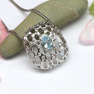 Серебряный кулон с голубым топазом, серебро 925 пробы, родий