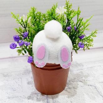 Пасхальный кролик в горшке с цветами Подарок на пасху
