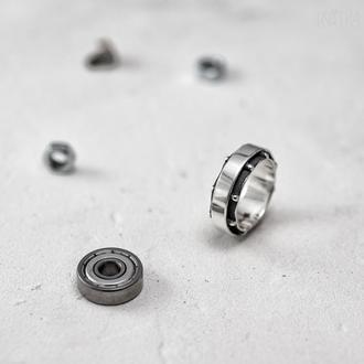 """Серебряное кольцо """"Подшипник"""". Размер 17,5"""
