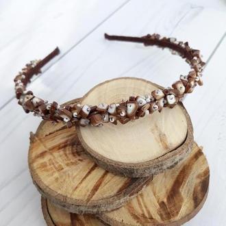 Обруч с натуральными камнями, светло-ореховый