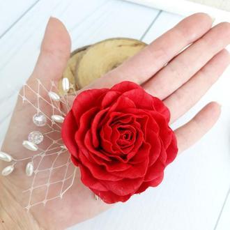 Гребень с красной розой и бусинами, свадебный гребень