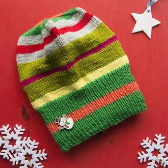 В'язана шапочка (кольорова із сніговиком)